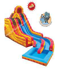 20' Fire and Ice Dual Lane Slide with Pool