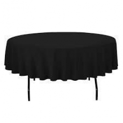 5' Round Tablecloth Lap Length (Black)