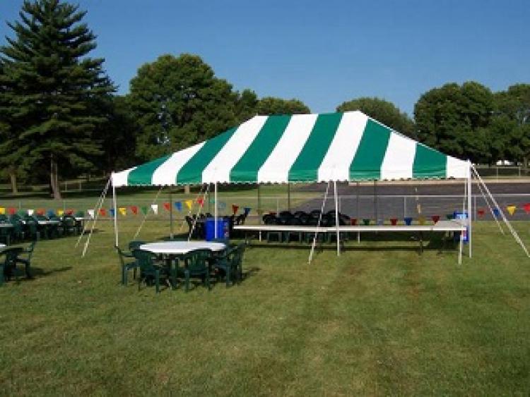 20x30  Pole Tent (Green Stripe)