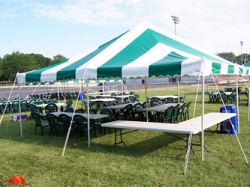 20x20 Pole Tent (Green Stripe)