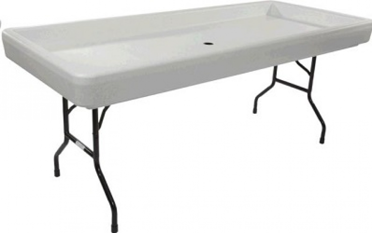 6' Fill N Chill Beverage Table (White)