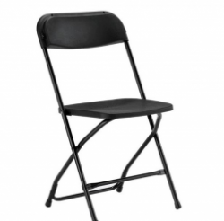Black Folding Chairs: To be placed at front of building.