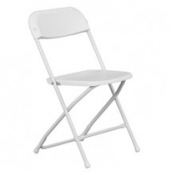 White Folding Chairs - Placed at the front of buildi