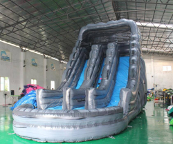 20FT! Wet or Dry Rock Dual Lane Water Slide