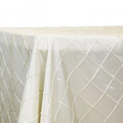 90x132 Rect. Ivory Pintuck Linen Linens