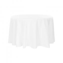 108 Round White Linen Linens
