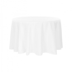 132 Round White Linen Linens