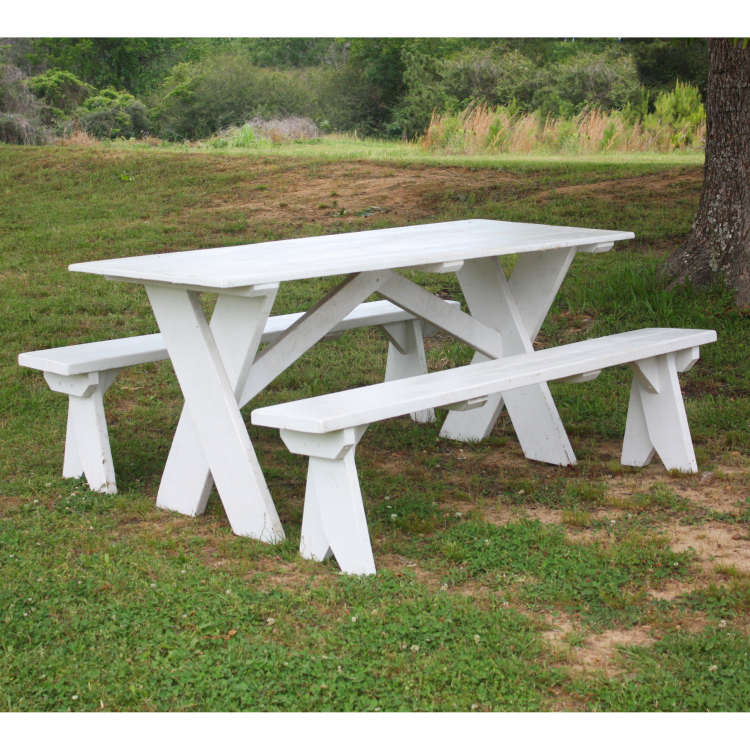 60 Our 6 White Picnic Tables With 2 Detached Benches Are Perfect For Any Event As Is Or Spruced Up Fun Centerpieces And Table Runners