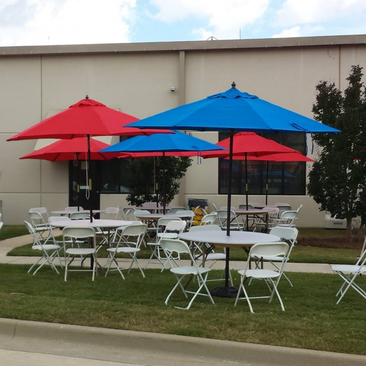 $42 Each 48u0027u0027 Round Table With Either Red Or Blue Umbrella. Perfect For  Keeping The Sun Off Your Guests.