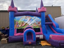 Unicorn Super Girl Combo Bounce House and Slide