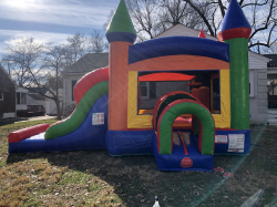 Colorful Combo Bounce House and Slide