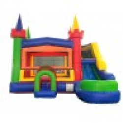 Rainbow Castle Wet/Dry #3 Combo Bounce House and Slide