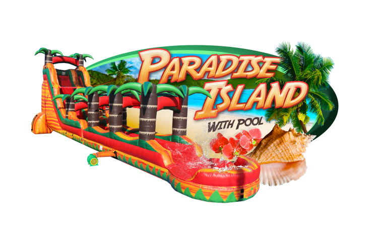 PARADISE ISLAND with slip-n-slide & pool