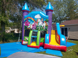 Unicorn Theme SM Wacky 5-in-1 Combo Castle Bouncer & Slide-Large