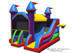 Multi-colored Wacky 5-in-1 Combo Castle Bouncer & Slide-Large