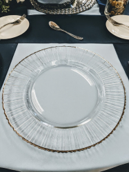 Glass w/Silver Rim Charger Plate