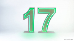 17th Neon Light Up Numbers