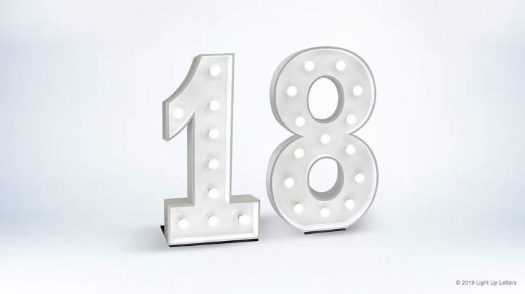 18th Light Up Numbers