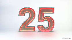 25th Neon Light Up Numbers