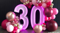 30th Neon Light Up Numbers