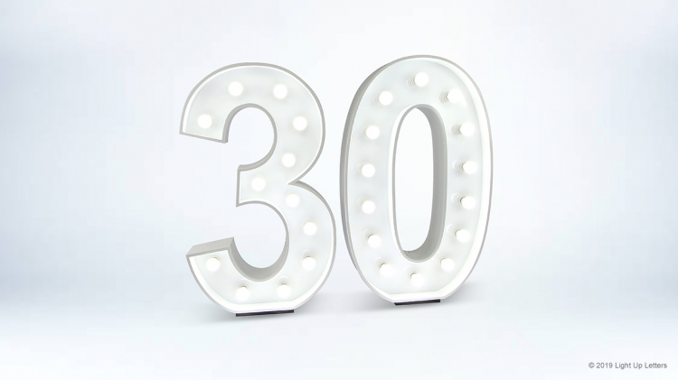 30th Light Up Numbers