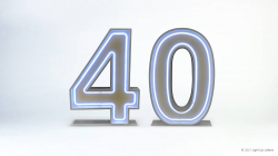 40th Neon Light Up Numbers
