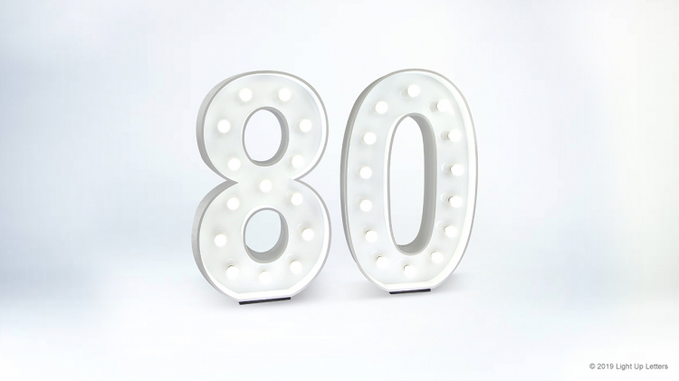 80th Light Up Numbers