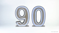 90th Neon Light Up Numbers