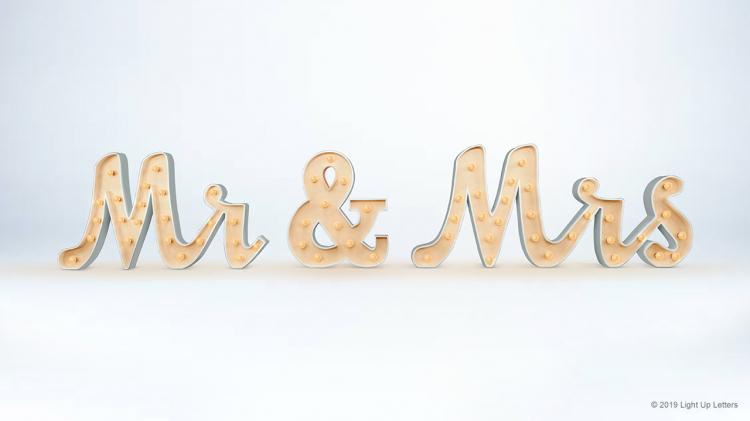 MR & MRS Scripted Light Up Letters