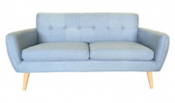 Slate Blue Linen Loveseat