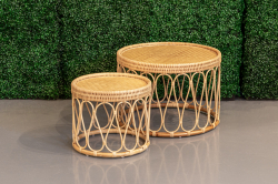 Round Rattan Coffee and End Table