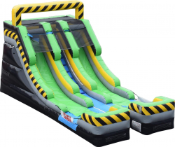16' Dual lane Caution Water Slide