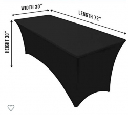 6' Rectangular Table Cloth (black)