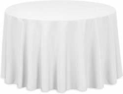 108' Round Polyester Tablecloth White