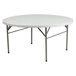 5' Round Folding Table - White