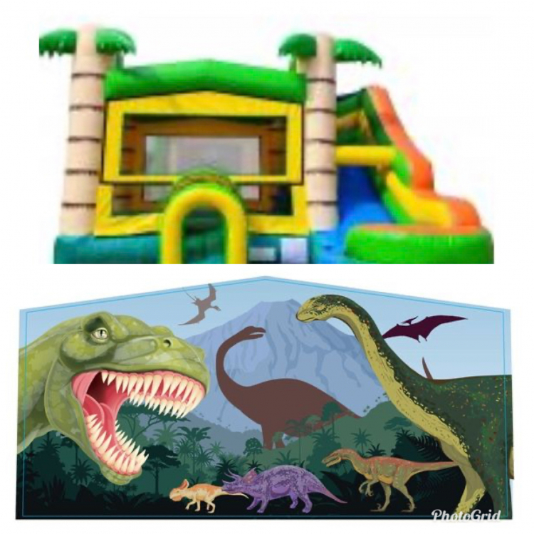 Dinosaur Theme Tropical Bounce Water Combo