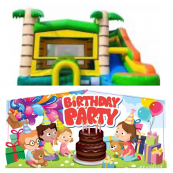 Happy Birthday Theme Tropical Bounce Water Combo
