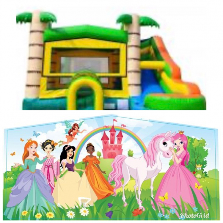 Princess Theme Tropical Bounce Water Combo