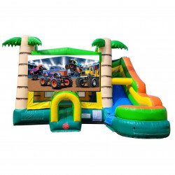 Monster Truck Theme Tropical Bounce Water Combo