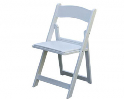 White resin Chair W/Pad