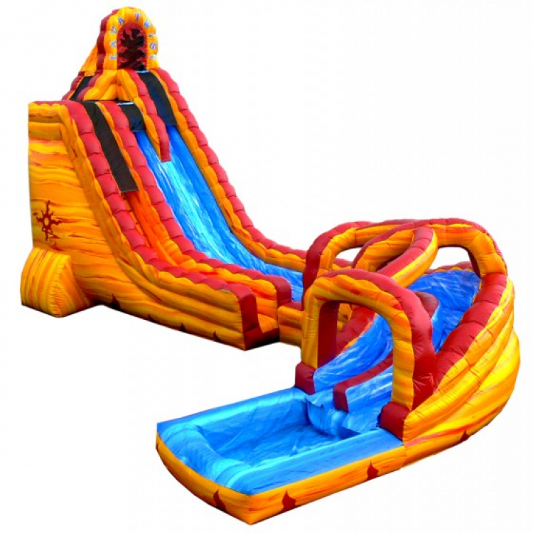 Inflatable Water Slide Tall: 27ft Lava Twist Water Slide