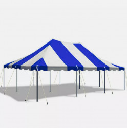 - 20' x 30' Canopy Pole Party Tent - Blue and White