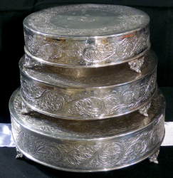 Silver Cake Stands all three 1602263040 - Cake Stand- Silver Plated 22""