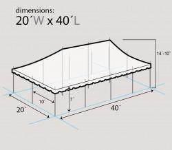 dim - 20x40 blue & white pole tent