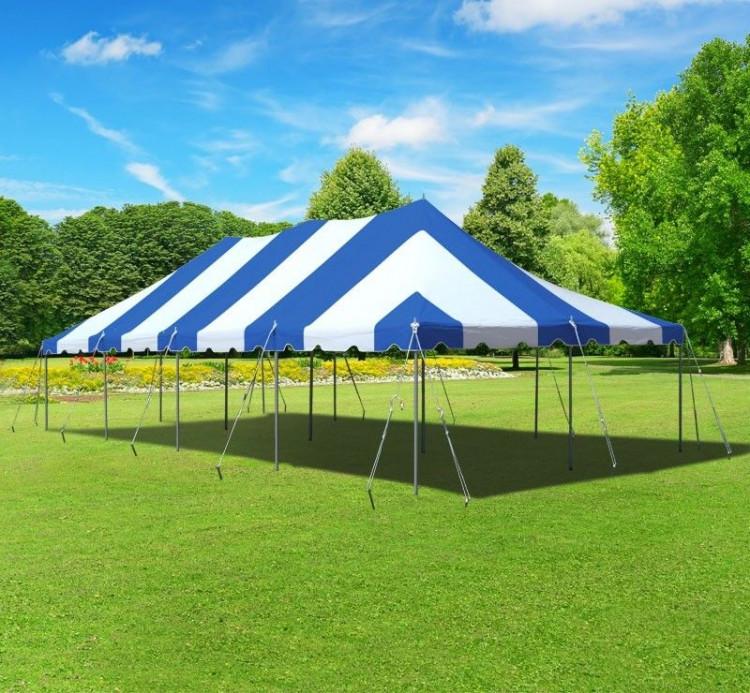 20x40 blue & white pole tent