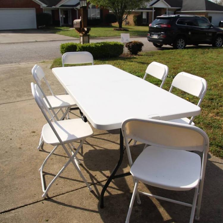 White Folding Table 6 FT