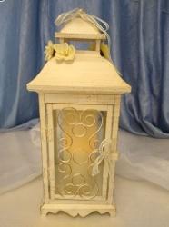 White Antique Lace Lantern- Large