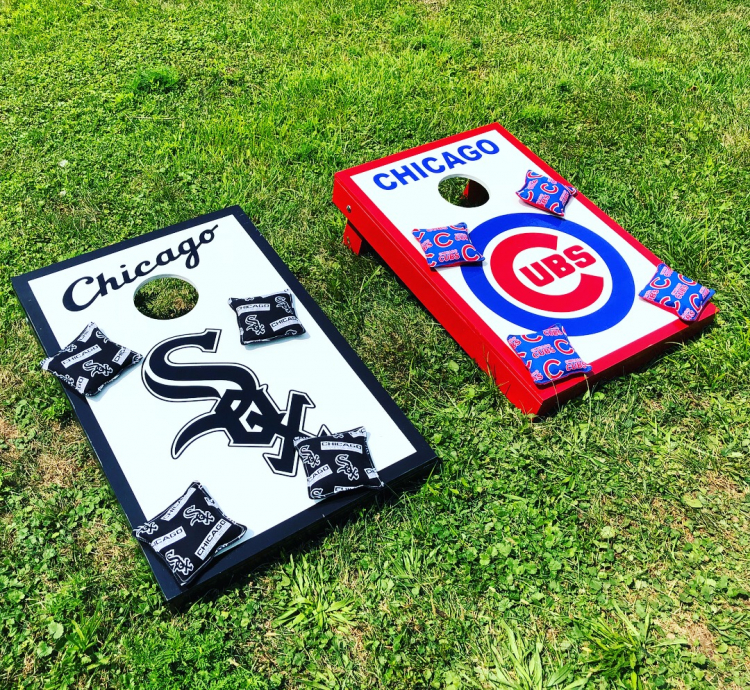 Enjoyable Corn Hole Bean Bag Toss Chicago White Sox And Cubs Pabps2019 Chair Design Images Pabps2019Com