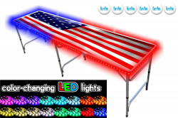 Professional Beer Pong Table w LED Glow Lights - USA Edition