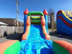 GOPR0324 1612214294 Rainbow Castle Bounce House / Single Slide Combo